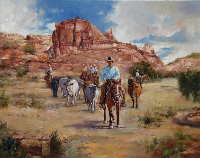 Bringing in the Strays | Oil on Canvas | 24 x 30